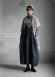 【送料無料】Joie de Vivre リネングレンチェックオーバーダイ キャミソールワンピース