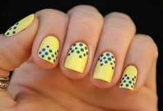 Image about nails in nail art by Lisa Almeida Cute Summer Nail Designs, Cute Summer Nails, Spring Nails, Yellow Nails Design, Yellow Nail Art, Polka Dot Nails, Blue Nails, Polka Dots, Nail Art Jaune