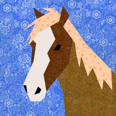 Horse paper pieced quilt block pattern PDF by BubbleStitch on Etsy