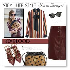 """Hot Color Trend: Oxblood"" by viola279 ❤ liked on Polyvore featuring Burberry, Carven, MANGO, Valentino and Linda Farrow"