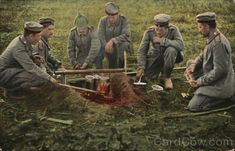 Soldiers Cooking, German postcard WW1. (cardcow)