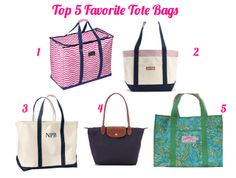 The Pink and Green Prep: Top 5 Favorite Tote Bags