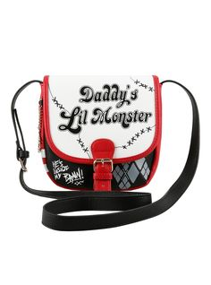 DC Comics Suicide Squad Harley Quinn Daddy's Little Monster Crossbody Purse   Hot Topic
