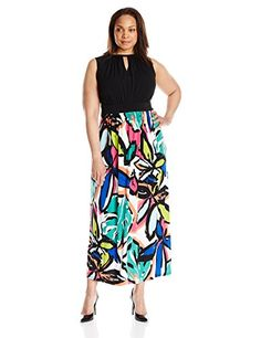 London Times Womens PlusSize Braided Neck Halter Maxi with Keyhole Cutout At Neckline BlackMulti 18W ** Continue to the product at the image link.