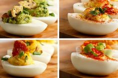 Deviled Eggs 4 Ways Having A Party? Wow Your Guests With These Deviled Eggs Four Different Ways Bacon Deviled Eggs, Deviled Eggs Recipe, Egg Recipes, Appetizer Recipes, Cooking Recipes, Shrimp Appetizers, Tasty Videos, Food Videos, Buzzfeed Tasty