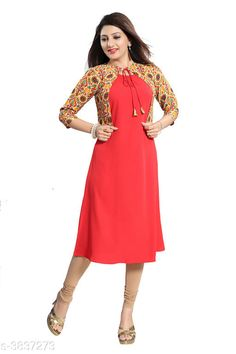 Kurtis & Kurtas ALC Creation Women Solid Crepe Kurti Fabric: Kurti -  Crepe , Jacket - Crepe Sleeve Length: Three-Quarter Sleeves Work / Pattern: Kurti - Solid , Jacket - Printed Combo of: Single Sizes: Kurti - XS - 34in, S - 36in, M - 38 in, L - 40 in, XL - 42 in, XXL - 44 in , Jacket -  XS - 34in, S - 36in, M - 38 in, L - 40 in, XL - 42 in, XXL - 44 in Sizes Available: XS, S, M, L, XL, XXL *Proof of Safe Delivery! Click to know on Safety Standards of Delivery Partners- https://ltl.sh/y_nZrAV3  Catalog Rating: ★4.1 (11759)  Catalog Name: ALC Creation Women Solid Crepe Kurtis CatalogID_538850 C74-SC1001 Code: 714-3837273-