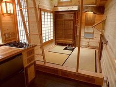 This Tiny Tea House design is absolutely stunning. I love how this looks, and I… This Tiny Tea House design is absolutely stunning. I love how this looks, and I think I'll need to incorporate more elements from traditional Japanese design in my tiny home. Tiny House Blog, Tiny House Living, Tiny House Design, Tiny House On Wheels, Small Living, Living Room, Japanese Style Tiny House, Japanese Home Design, Japanese Interior