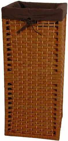 """Natural Fiber Laundry Hamper- HON by ORIENTAL FURNITURE. $59.00. This is a sturdy, light weight, and attractive square shaped basket, tall and narrow, with a 101 practical uses around the home. Throw dog or toddlers toys inside, gloves and scarves, umbrellas and walking sticks. The advantage is there is no lid to get in the way, a simple and very useful home décor accessory. Well crafted from spun plant fiber cord interwoven with ¼"""" wood dowel rods on a ligh..."""