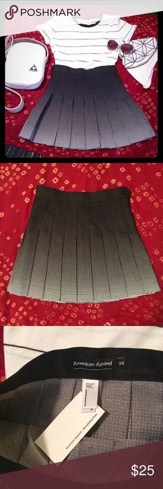 "Rare AA Pleated Ombré Tennis Skirt - Black These are getting hard to find!  American Apparel mini tennis skirt with black and white halftone / ombre print.  I love this skirt because it reminds me of the halftone shading in manga and black and white comics.  Instant statement.  Waist is exactly 14"" across with no stretch.  14.5"" length. American Apparel Skirts Mini"