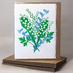 Flora Day! - Mother's Day or any other Day Card - Lily of the Valley & Bluebells £3.50