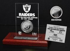 Oakland Raiders 3 Times Super Bowl Champions 24KT Gold Coin in a Etched  Acrylic Desktop Display from The Highland Mint 3fa58a8fa
