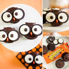 Owl Cupcakes: One Charming Party turned simple chocolate cupcakes, Oreo cookies, and Reese's Pieces into the cutest owl cupcakes ever.  Source: One Charming Party