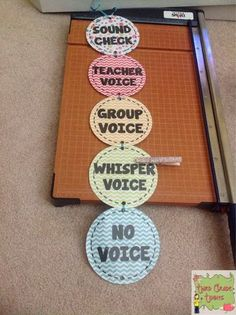 Sound Check. Free. If you want it completed, you have to click on the HERE link on her blog. Otherwise, you have to make your own. This is perfect! It's so small I can just hang it on or next to the whiteboard. Love. My kids need expectations explicitly set for everything this year.
