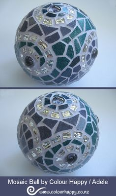 Small ball covered in pieces of teal green & purple vitreous glass, purple glass gems and swirls of textured mirror glass for sparkle. ♥ Mosaic by Colour Happy / Adele Mirror Mosaic, Mosaic Glass, Glass Art, Mirror Glass, Mirror Ball, Mosaic Garden Art, Mosaic Art, Mosaic Tiles, Mosaics