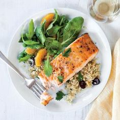 Orange-Glazed Salmon with Olive Quinoa Recipe (REALLY good and super easy. win/win in the summer!)