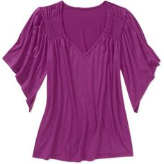Faded Glory Women's Smocked Shoulder Knit Top  #HSN and #FallFashion