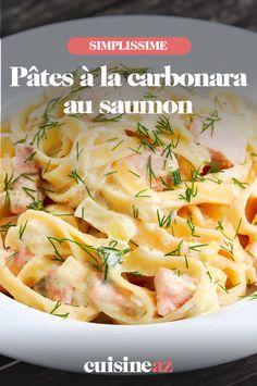 Un plat de pâtes classique : les pâtes carbonara, ici, au saumon sont simples et rapides à cuisiner. #recette#cuisine#pates#carbonara #saumon