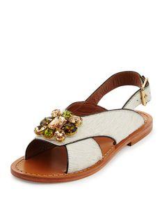 9906e18d1000df Marni Jeweled Calf-Hair Flat Slingback Sandal