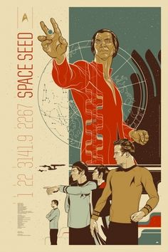 We've written a great many words about the anniversary of Star Trek this week, we thought maybe it was time for a change of pace. But how do you do that and also continue to celebrate Star Trek? Star Trek Posters, Star Wars Poster, Movie Posters, Ship Illustration, Illustrations, Star Trek Tv, Star Trek Movies, Star Trek Books, Star Trek Enterprise