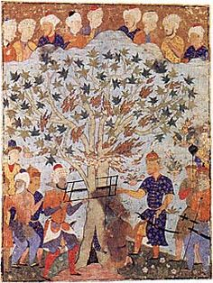 Illustrated here is the story of the prophet Zakariya (a conflation of Zacharias, the father of John the Baptist, and the Old Testament prophet Zachariah), who according to Muslim legend died a martyr's death. Escaping his pursuers by hiding in a tree that miraculously opened to admit him, Zakariya was betrayed by Iblis, the devil, who pointed out the hem of the prophet's cloak protruding from the trunk. The devil's forces sawed the tree apart and with it Zakariya, whose saintly aura is…