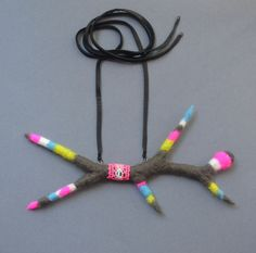 Felted Pendant Grey Antler with Neon Details by 3FUN on Etsy, $50.00