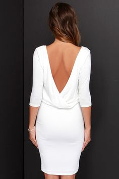 The All or Nothing Ivory Backless Dress will be your strongest staple with its soft jersey knit construction, half sleeves, low surplice back and fitted tube skirt. Winter Formal Dresses, Cute Casual Dresses, Club Party Dresses, Wedding Dresses, Half Sleeve Dresses, Ladies Dress Design, Buy Dress, Dress Backs, White Dress