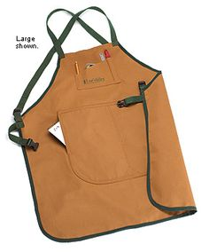 """Lee Valley Canvas Aprons - Woodworking - cross-back shoulder straps to prevent neck strain - 34"""" long by 28"""" wide, with 14"""" x 8"""" lower pockets, $40"""