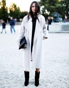 white oversized coat + black boots x columbine stille