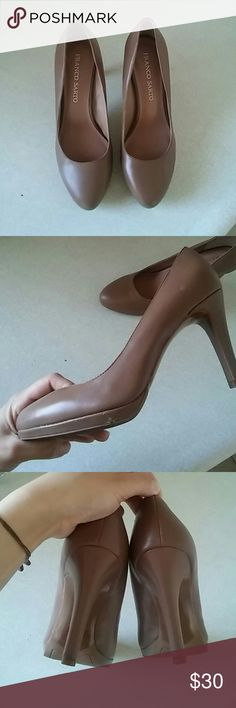 """Franco Sarto light brown heels 4"""" heels, perfect for work and really cute with a dress, worn twice, right shoe have 2 little scratches no noticeable when on. No box. Franco Sarto Shoes"""