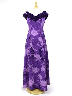 Princess Kaiulani 2869 [Night Blooming Cereus / Purple] Frill Sleeve Dress - Stage Costumes - Hula Supply | AlohaOutlet SelectShop