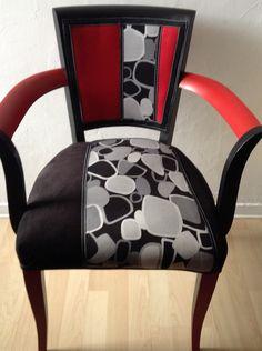 Fauteuil Bridge tweed et toile de jouy noir et blanc ART DECO