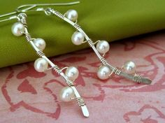 PUSSY WILLOW BRANCH(white) sterling silver wire wrap earrings