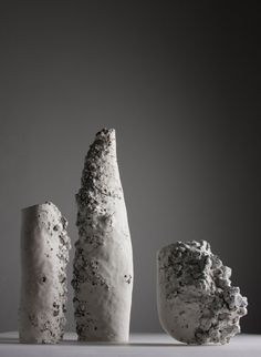 "In ""Raining Stones"" Polish artist Aneta Regel Deleu melts rock and porcelain into sculptures of contrasting materials."