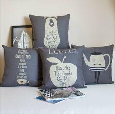 Nordic IKEA cotton pillow Letter Cartoon Bear cotton Cushion Pillow Cushion cover for Office home Decor sofa cushions 4PCS/LOT