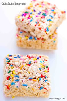 Cake Batter Krispy Treats - delicious, easy to make, and a fun twist on an old favorite!