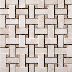 Basketweave Random Sized Travertine Mosaic Tile in Beige