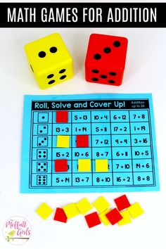 Roll, Solve and Cover Up: This fun 1st Grade Math activity helps students practice addition in a hands-on way!