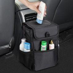 Car Trash Can with Lid, Car Trash Bag Hanging for Headrest with 3 Storage Pockets, Portable Trash Can For Car, Car Trash, Trash Bag, Car Accessories For Girls, Car Hanging Accessories, Inside Car, Car Interior Decor, Interior Design, Autos