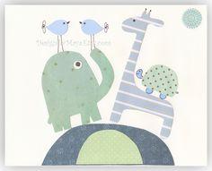 Baby boy Nursery Art Decor Kids Print Animals ...Dancing. $17.00, via Etsy.