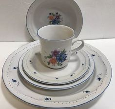 Newcor Provincial Stoneware # 6003 Blue Purple Peach Floral Blue Trim 30Pc Set  | eBay