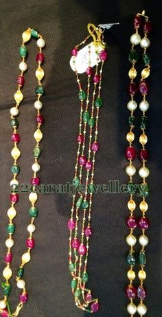 Green emeralds, ruby, pearls beads combination light weight long chains with below 6 grams weight.  Suitable for all costumes.