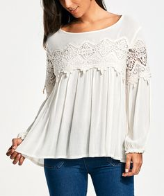 Lace Insert Long Sleeve Smock Blouse