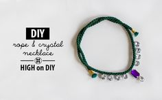 DIY Rope & Crystal Necklace #Jewelry #DIYFashion #Accessories