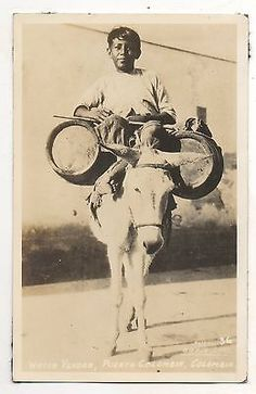 RPPC-Water-Vender-Boy-on-Donkey-Puerto-Colombia-Vintage-Real-Photo-Postcard