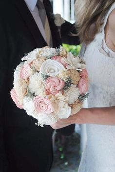 Natural Romantic Wedding Bouquet- Sola Flower Bouquet, Vintage Keepsake bouquet, Outdoor wedding,  Country wedding, Shabby Chic.