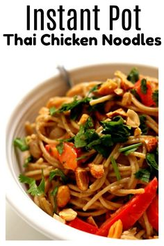 Instant Pot Thai Chicken Noodles–a true one pot meal! The chicken, sauce and noodles are all cooked at the same time in minutes in your electric pressure cooker. The noodles are enveloped in a mild creamy peanut and lime sauce and the peanuts, cilantro and red bell pepper give texture and color. A delicious and easy recipe to make any night of the week. #instantpot #instapot #pressurecooker
