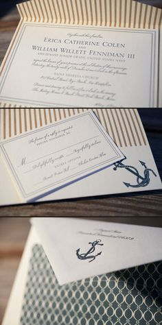 Classic nautical letterpress wedding invitations featuring a custom folio