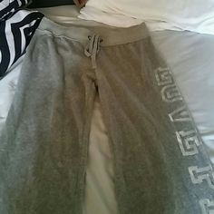 Victoria secret pants Grey Victoria secret pants. Rarely worn. No damage. They have two zippers on the back pocket. And down the side of the leg it says Victoria secret . price is negotiable Victoria's Secret Pants Boot Cut & Flare