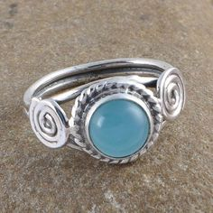 DESIGNER 925 STERLING SILVER BLUE CHALSIDONY 2.89g RING JEWLLERY R0958 #Handmade #RING