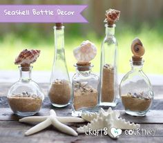 Beach decor Crafts - Easyto Make Decorative Seashell Bottles. Seashell Crafts, Beach Crafts, Summer Crafts, Seashell Art, Diy Bottle, Bottle Crafts, Bottle Labels, Glass Bottle, Water Bottle
